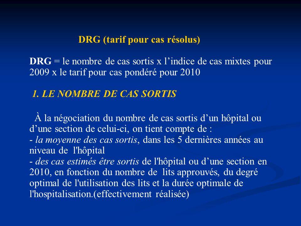 DRG (tarif pour cas résolus) DRG = le nombre de cas sortis x l'indice de cas mixtes pour 2009 x le tarif pour cas pondéré pour 2010 1.