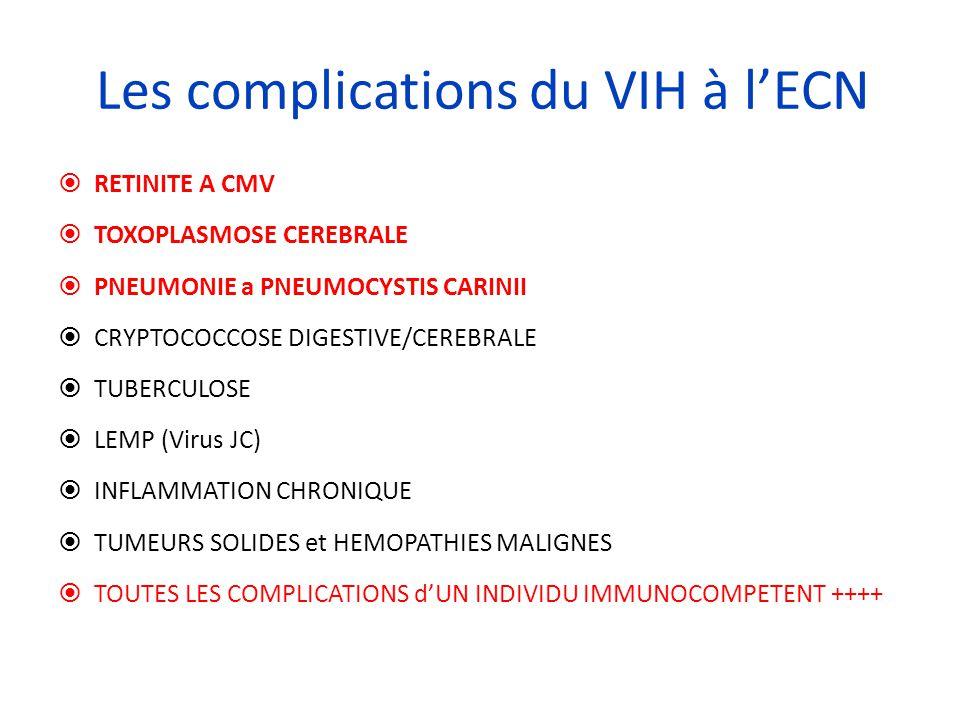 Les complications du VIH à l'ECN  RETINITE A CMV  TOXOPLASMOSE CEREBRALE  PNEUMONIE a PNEUMOCYSTIS CARINII  CRYPTOCOCCOSE DIGESTIVE/CEREBRALE  TU