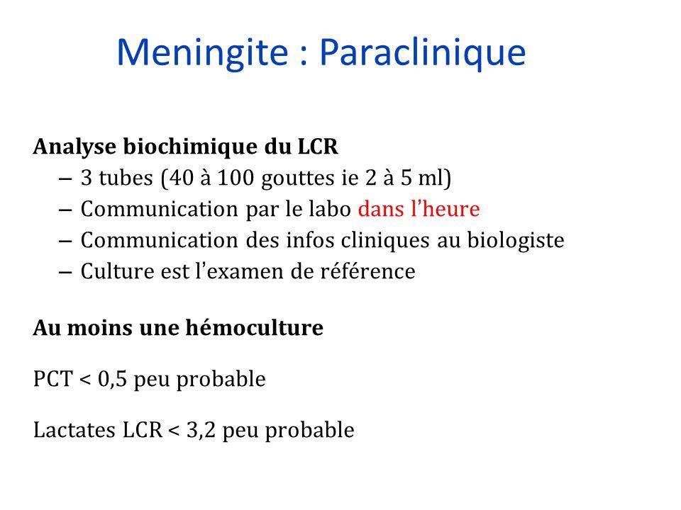 Meningite : Paraclinique Analyse biochimique du LCR – 3 tubes (40 à 100 gouttes ie 2 à 5 ml) – Communication par le labo dans l'heure – Communication