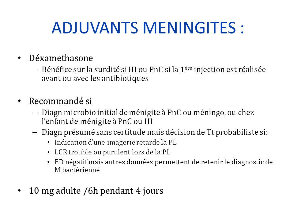 ADJUVANTS MENINGITES : Déxamethasone – Bénéfice sur la surdité si HI ou PnC si la 1 ère injection est réalisée avant ou avec les antibiotiques Recomma