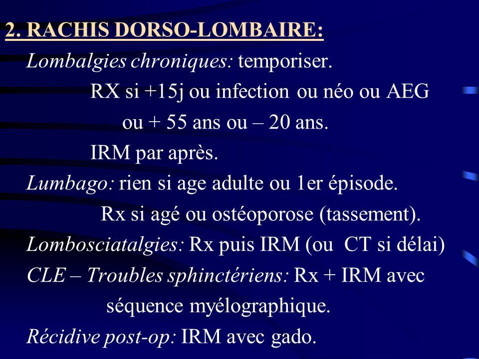 2. RACHIS DORSO-LOMBAIRE: Lombalgies chroniques: temporiser. RX si +15j ou infection ou néo ou AEG ou + 55 ans ou – 20 ans. IRM par après. Lumbago: ri