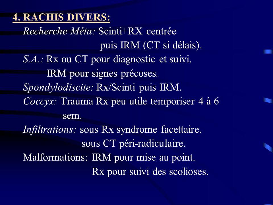 4. RACHIS DIVERS: Recherche Méta: Scinti+RX centrée puis IRM (CT si délais). S.A.: Rx ou CT pour diagnostic et suivi. IRM pour signes précoses. Spondy