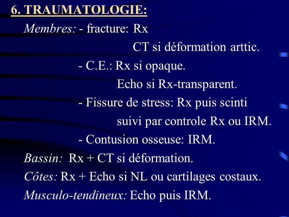 6. TRAUMATOLOGIE: Membres: - fracture: Rx CT si déformation arttic. - C.E.: Rx si opaque. Echo si Rx-transparent. - Fissure de stress: Rx puis scinti