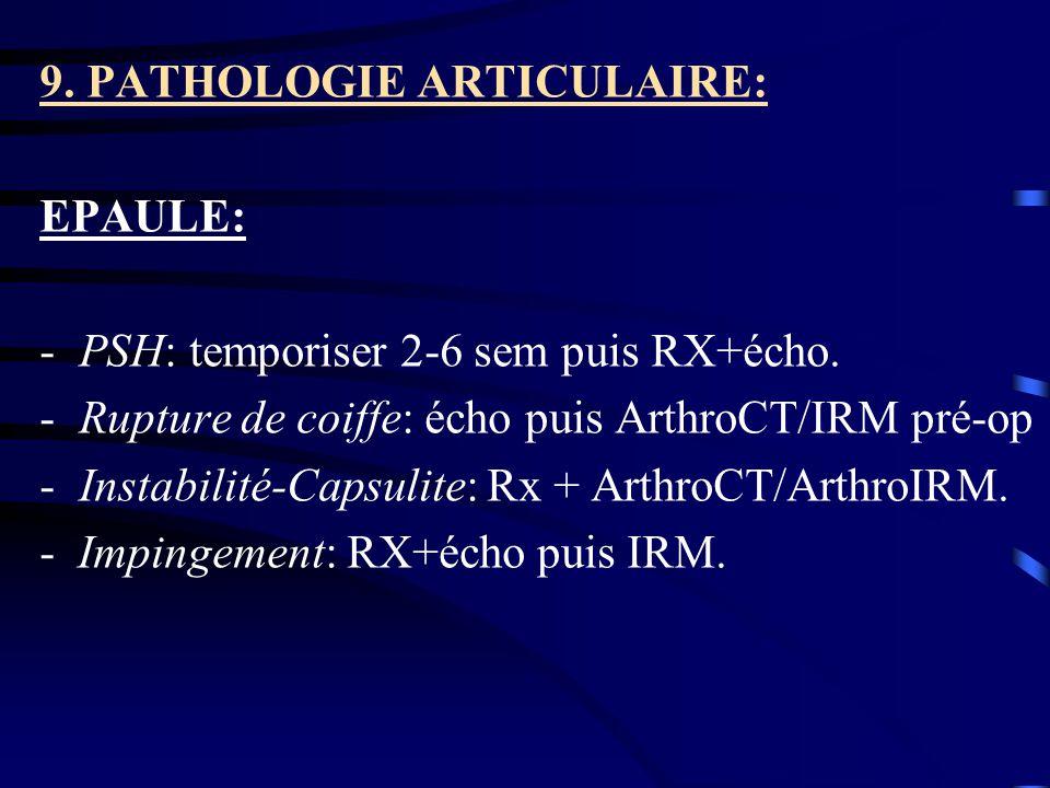 9. PATHOLOGIE ARTICULAIRE: EPAULE: -PSH: temporiser 2-6 sem puis RX+écho. -Rupture de coiffe: écho puis ArthroCT/IRM pré-op -Instabilité-Capsulite: Rx