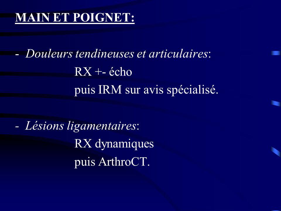 MAIN ET POIGNET: -Douleurs tendineuses et articulaires: RX +- écho puis IRM sur avis spécialisé. - Lésions ligamentaires: RX dynamiques puis ArthroCT.