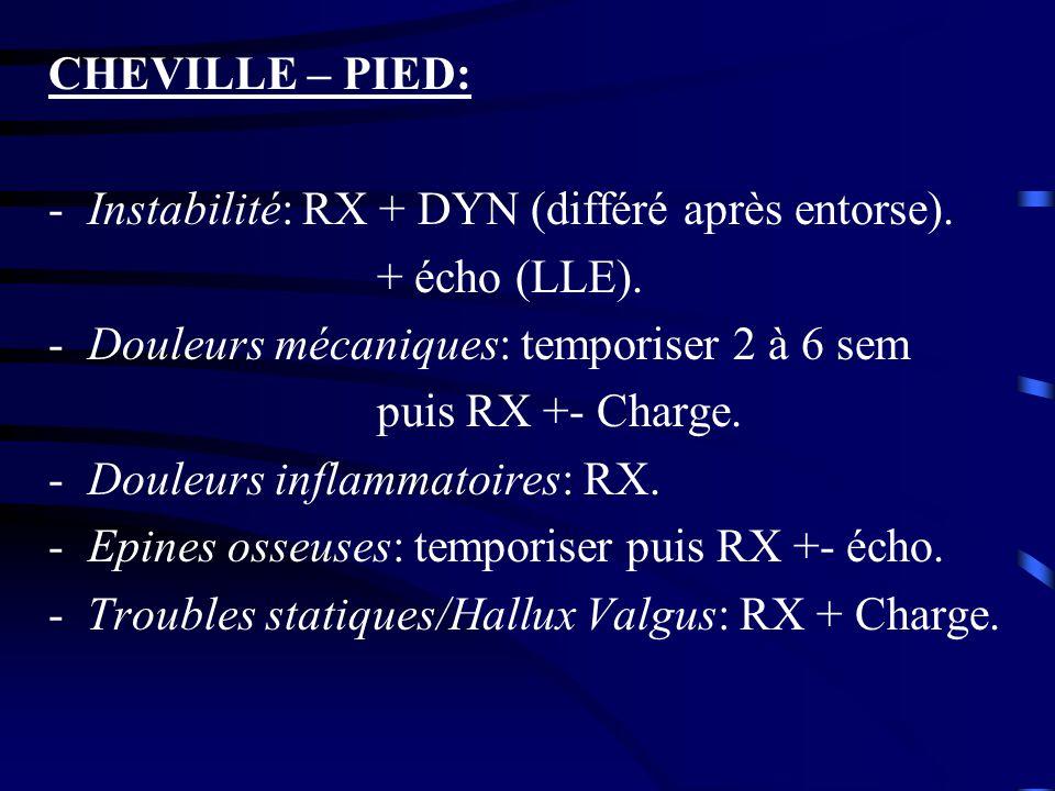 CHEVILLE – PIED: -Instabilité: RX + DYN (différé après entorse). + écho (LLE). -Douleurs mécaniques: temporiser 2 à 6 sem puis RX +- Charge. -Douleurs