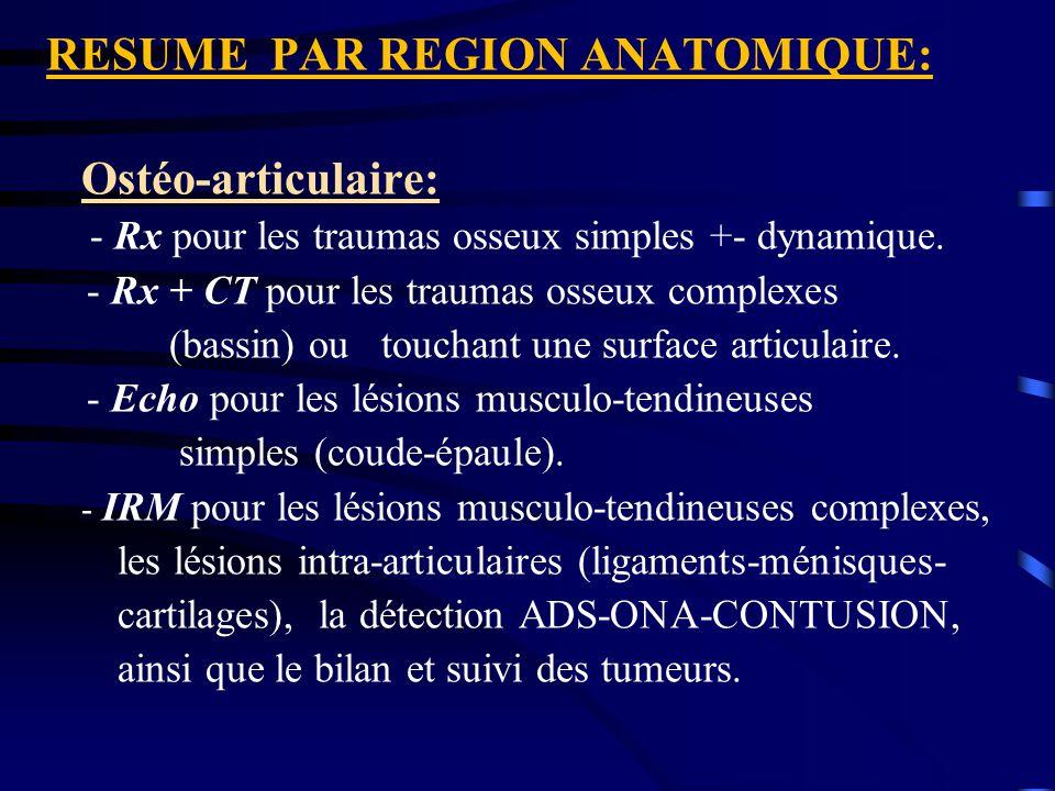 RESUME PAR REGION ANATOMIQUE: Ostéo-articulaire: - Rx pour les traumas osseux simples +- dynamique. - Rx + CT pour les traumas osseux complexes (bassi