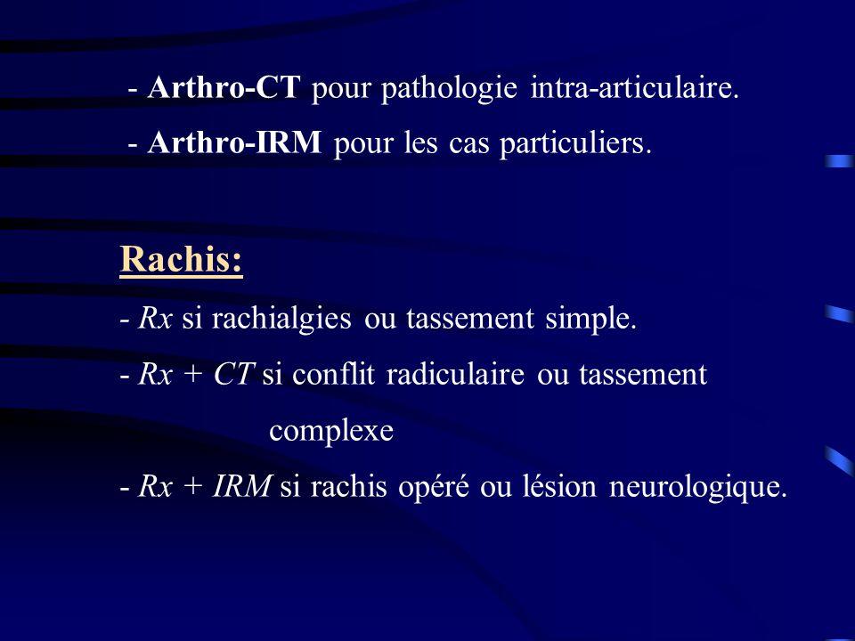 - Arthro-CT pour pathologie intra-articulaire. - Arthro-IRM pour les cas particuliers. Rachis: - Rx si rachialgies ou tassement simple. - Rx + CT si c
