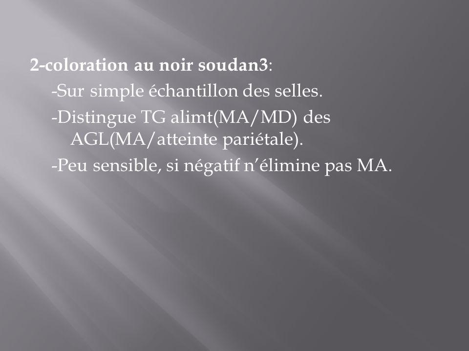 2-coloration au noir soudan3 : -Sur simple échantillon des selles. -Distingue TG alimt(MA/MD) des AGL(MA/atteinte pariétale). -Peu sensible, si négati