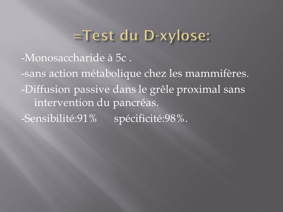 -Monosaccharide à 5c. -sans action métabolique chez les mammifères. -Diffusion passive dans le grêle proximal sans intervention du pancréas. -Sensibil