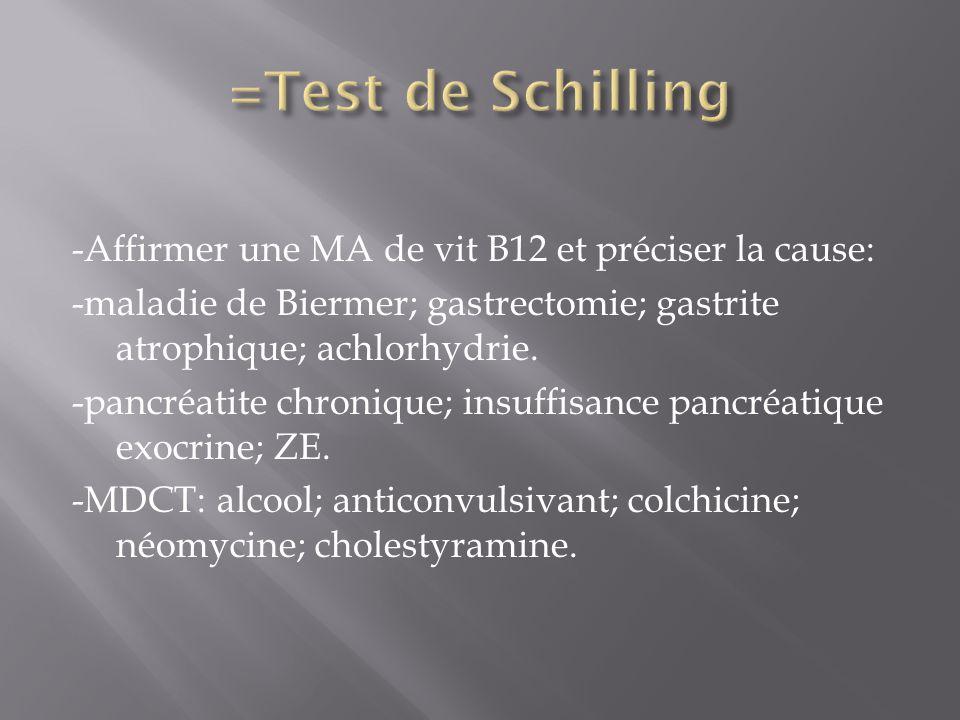 -Affirmer une MA de vit B12 et préciser la cause: -maladie de Biermer; gastrectomie; gastrite atrophique; achlorhydrie. -pancréatite chronique; insuff