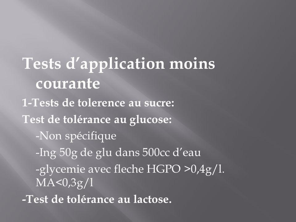 Tests d'application moins courante 1-Tests de tolerence au sucre: Test de tolérance au glucose: -Non spécifique -Ing 50g de glu dans 500cc d'eau -glycemie avec fleche HGPO >0,4g/l.