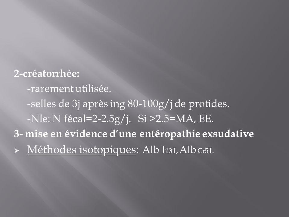 2-créatorrhée: -rarement utilisée. -selles de 3j après ing 80-100g/j de protides. -Nle: N fécal=2-2.5g/j. Si >2.5=MA, EE. 3- mise en évidence d'une en