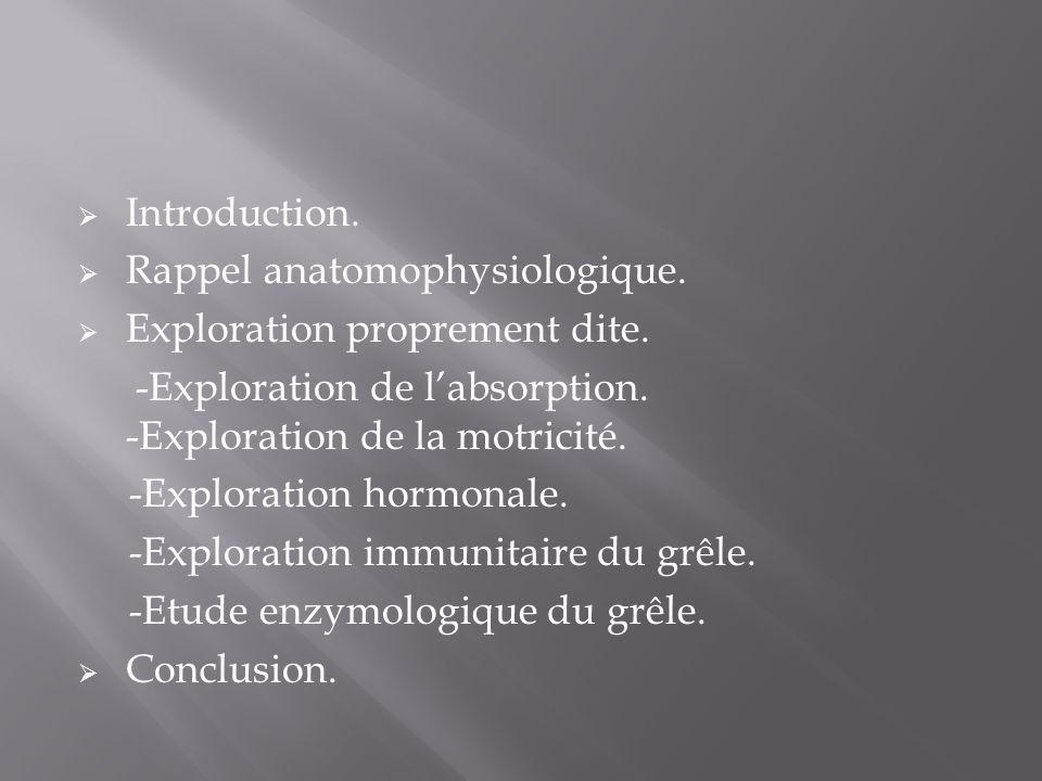  Introduction.  Rappel anatomophysiologique.  Exploration proprement dite. -Exploration de l'absorption. -Exploration de la motricité. -Exploration