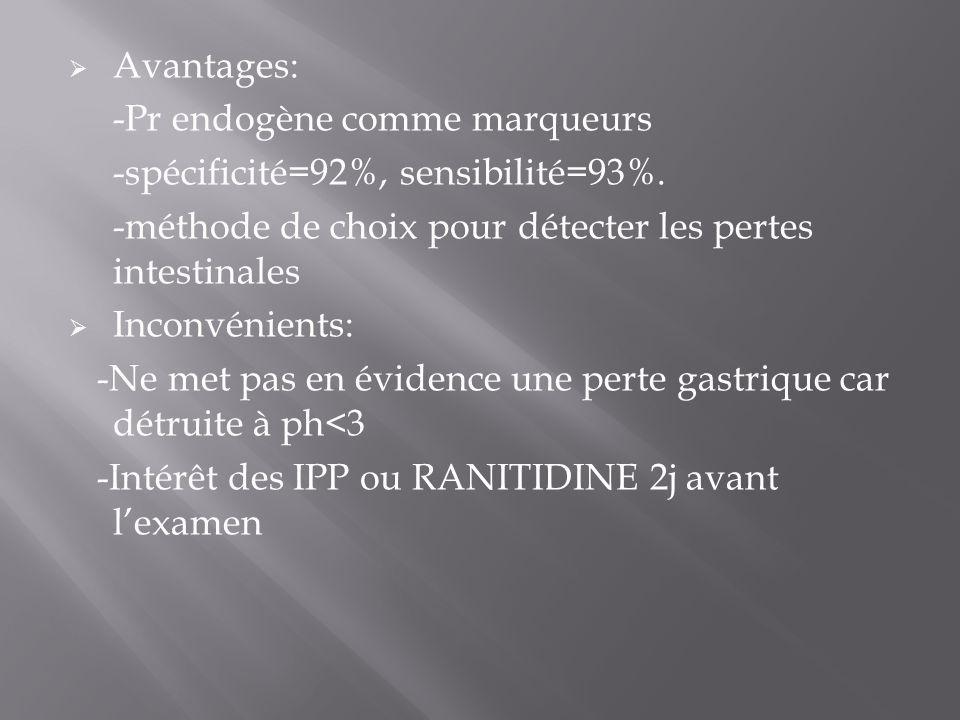 Avantages: -Pr endogène comme marqueurs -spécificité=92%, sensibilité=93%.