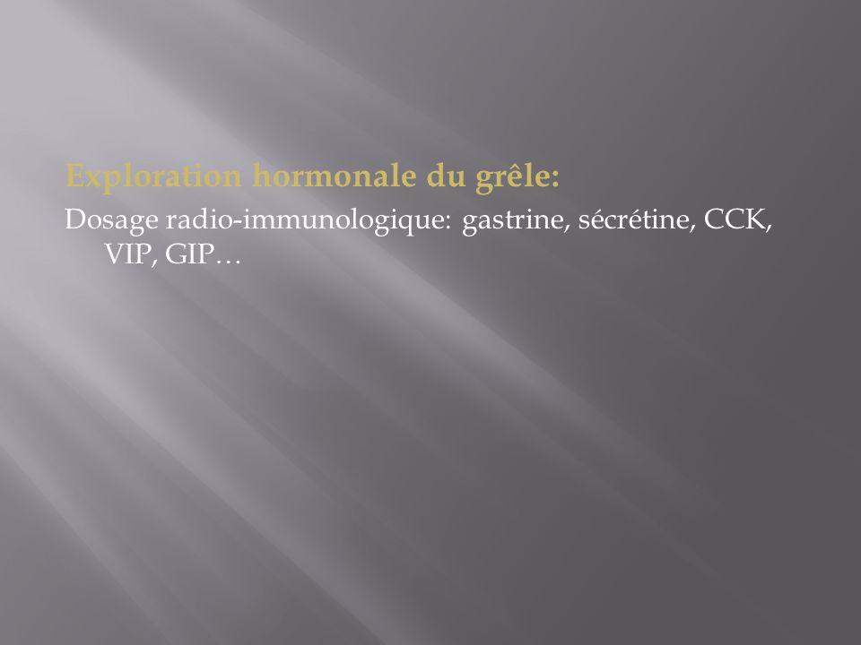 Exploration hormonale du grêle: Dosage radio-immunologique: gastrine, sécrétine, CCK, VIP, GIP…
