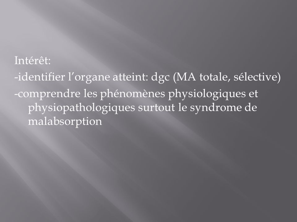 Intérêt: -identifier l'organe atteint: dgc (MA totale, sélective) -comprendre les phénomènes physiologiques et physiopathologiques surtout le syndrome