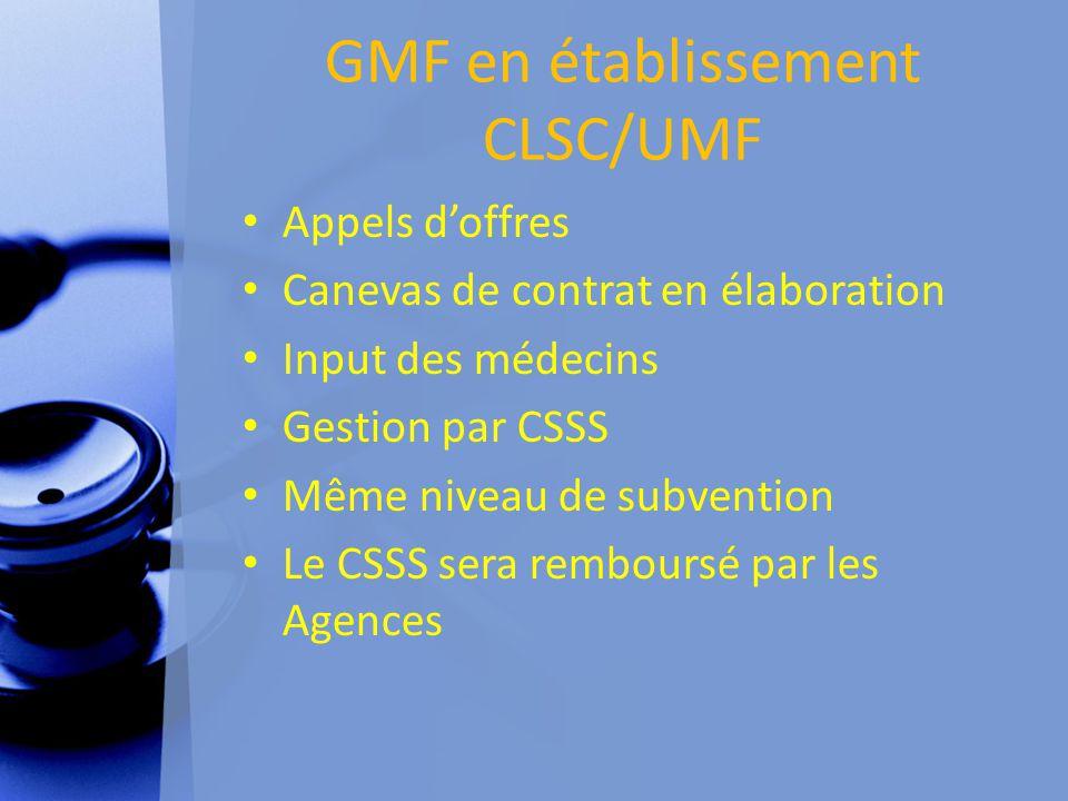 GMF en établissement CLSC/UMF Appels d'offres Canevas de contrat en élaboration Input des médecins Gestion par CSSS Même niveau de subvention Le CSSS sera remboursé par les Agences