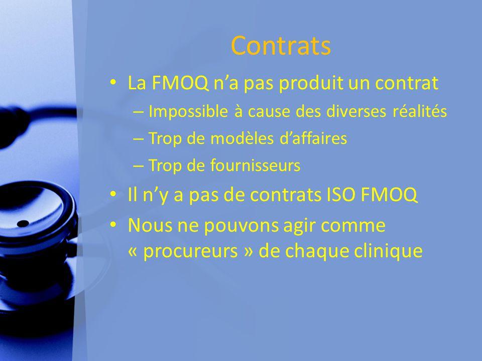 Contrats La FMOQ n'a pas produit un contrat – Impossible à cause des diverses réalités – Trop de modèles d'affaires – Trop de fournisseurs Il n'y a pas de contrats ISO FMOQ Nous ne pouvons agir comme « procureurs » de chaque clinique