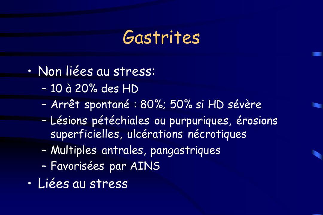 Gastrites Non liées au stress: –10 à 20% des HD –Arrêt spontané : 80%; 50% si HD sévère –Lésions pétéchiales ou purpuriques, érosions superficielles,