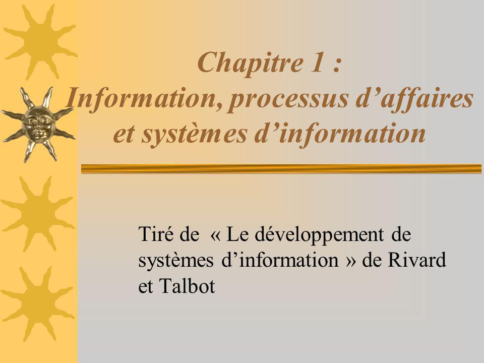 Chapitre 1 : Information, processus d'affaires et systèmes d'information Tiré de « Le développement de systèmes d'information » de Rivard et Talbot