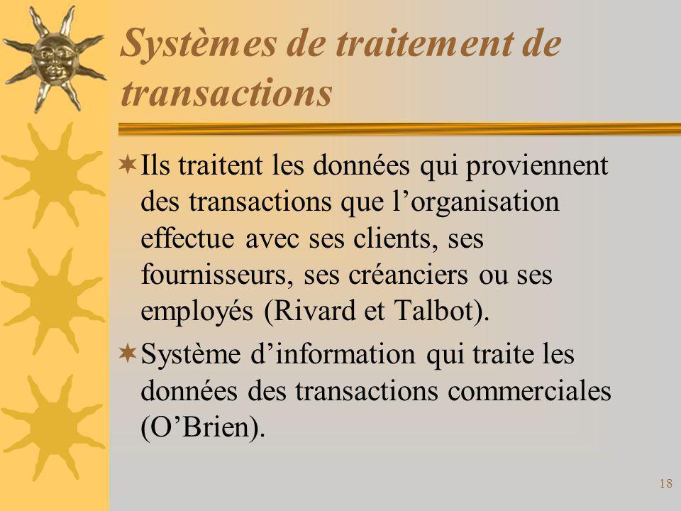 Systèmes de traitement de transactions  Ils traitent les données qui proviennent des transactions que l'organisation effectue avec ses clients, ses f