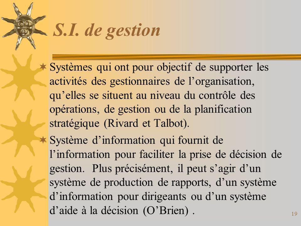 S.I. de gestion  Systèmes qui ont pour objectif de supporter les activités des gestionnaires de l'organisation, qu'elles se situent au niveau du cont