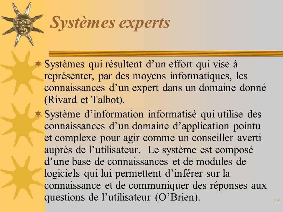 Systèmes experts  Systèmes qui résultent d'un effort qui vise à représenter, par des moyens informatiques, les connaissances d'un expert dans un doma