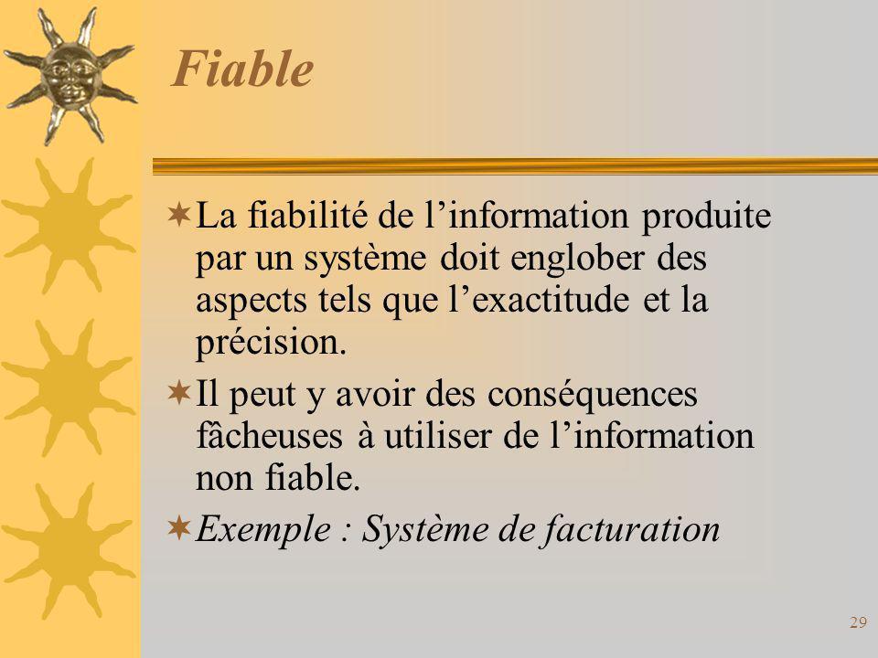 Fiable  La fiabilité de l'information produite par un système doit englober des aspects tels que l'exactitude et la précision.  Il peut y avoir des