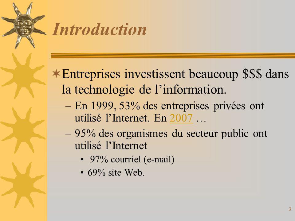 Introduction  Entreprises investissent beaucoup $$$ dans la technologie de l'information. –En 1999, 53% des entreprises privées ont utilisé l'Interne