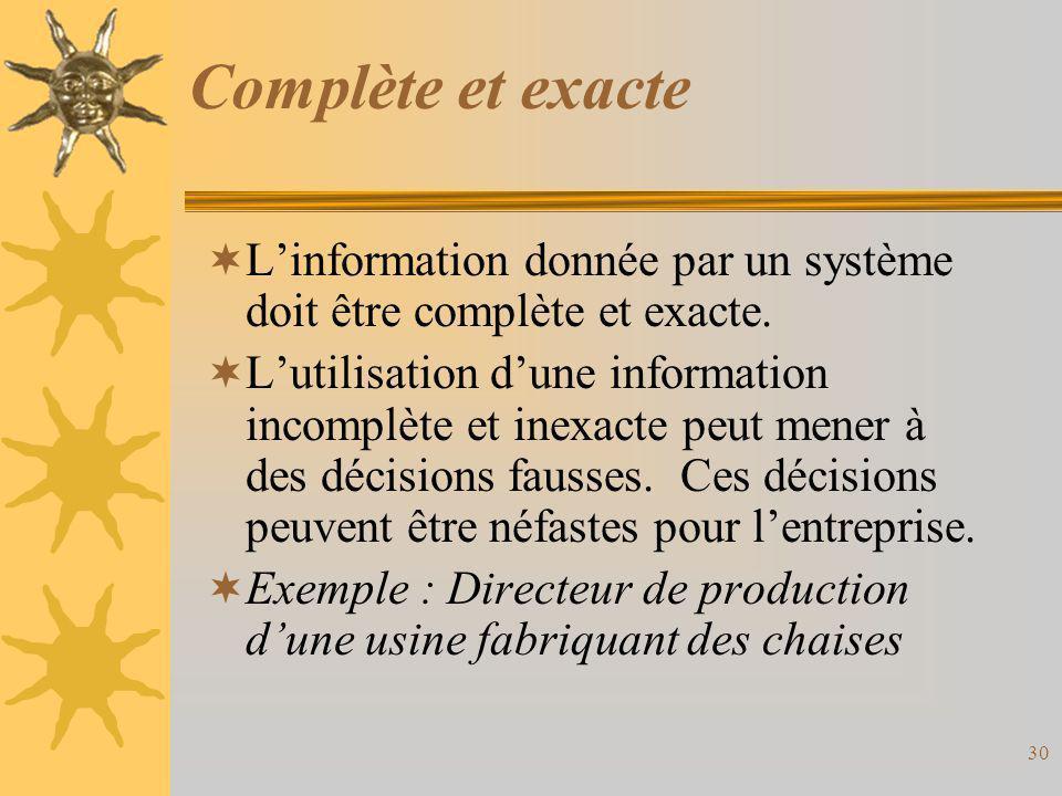 Complète et exacte  L'information donnée par un système doit être complète et exacte.  L'utilisation d'une information incomplète et inexacte peut m