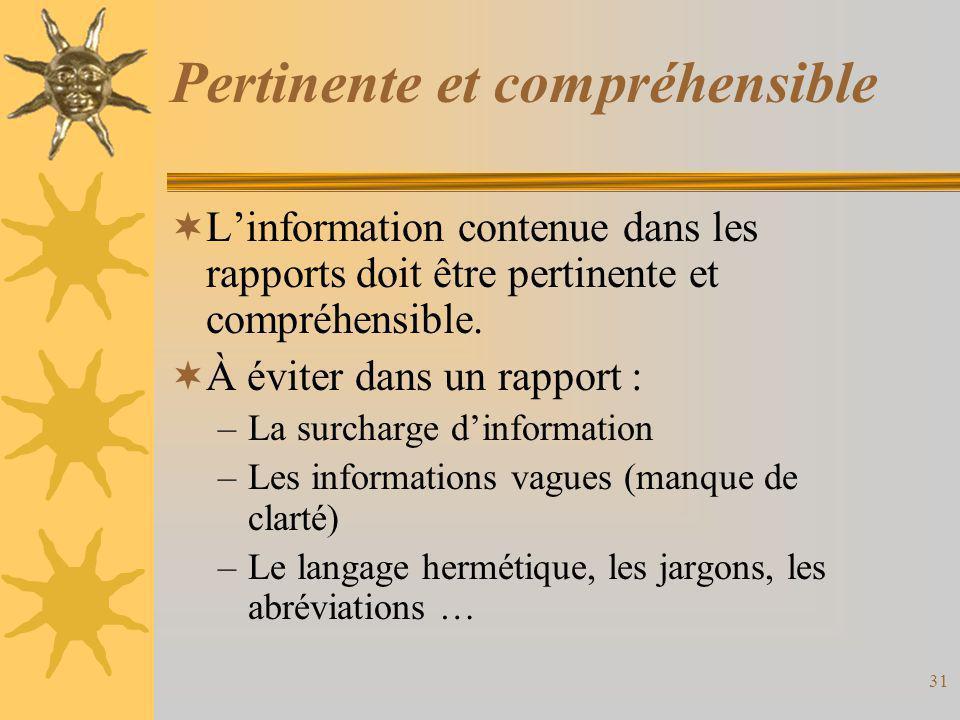 Pertinente et compréhensible  L'information contenue dans les rapports doit être pertinente et compréhensible.  À éviter dans un rapport : –La surch