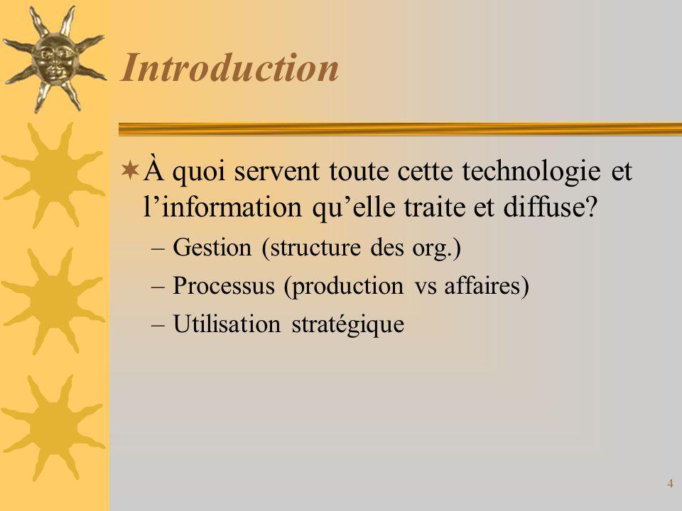 Introduction  À quoi servent toute cette technologie et l'information qu'elle traite et diffuse? –Gestion (structure des org.) –Processus (production
