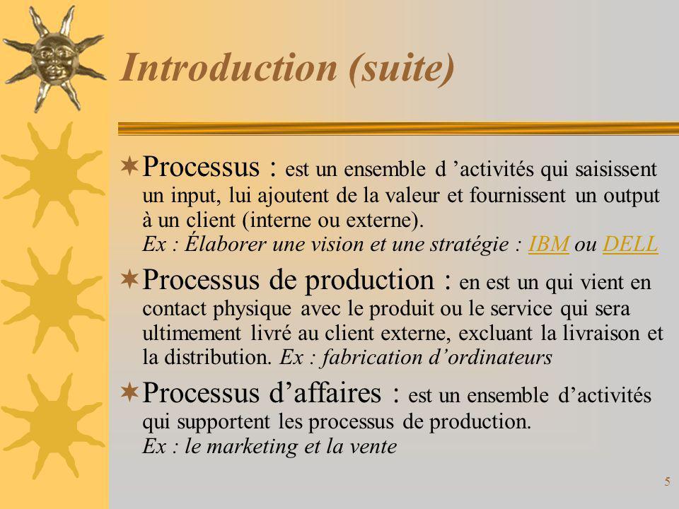 Introduction (suite)  L'information joue de multiples rôles dans les processus –elle joue un rôle de support, –elle est une matière première et un output, –elle est essentielle à la coordination des processus, –elle permet d'évaluer la performance des processus.