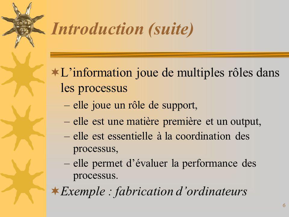 Introduction (suite)  L'information joue de multiples rôles dans les processus –elle joue un rôle de support, –elle est une matière première et un ou