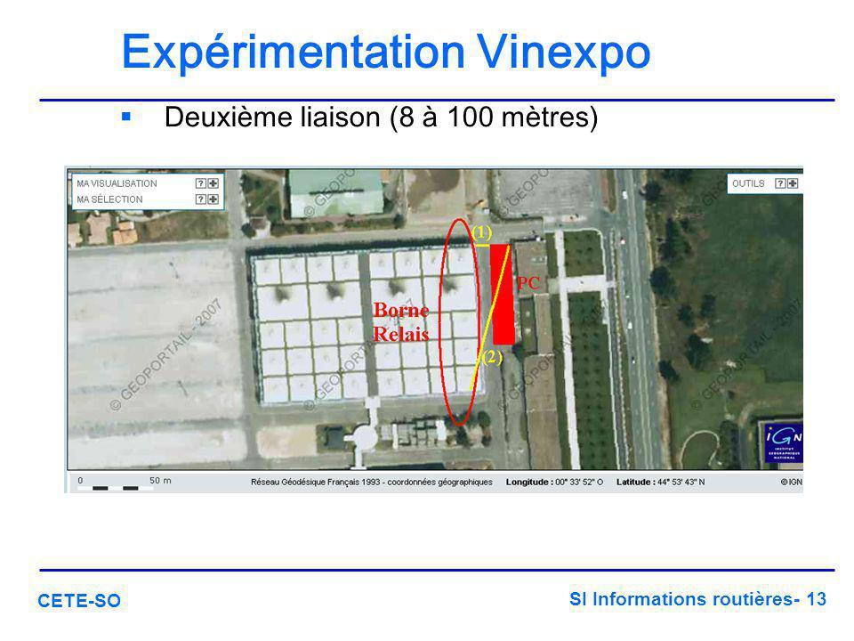 SI Informations routières- 13 CETE-SO Expérimentation Vinexpo  Deuxième liaison (8 à 100 mètres)