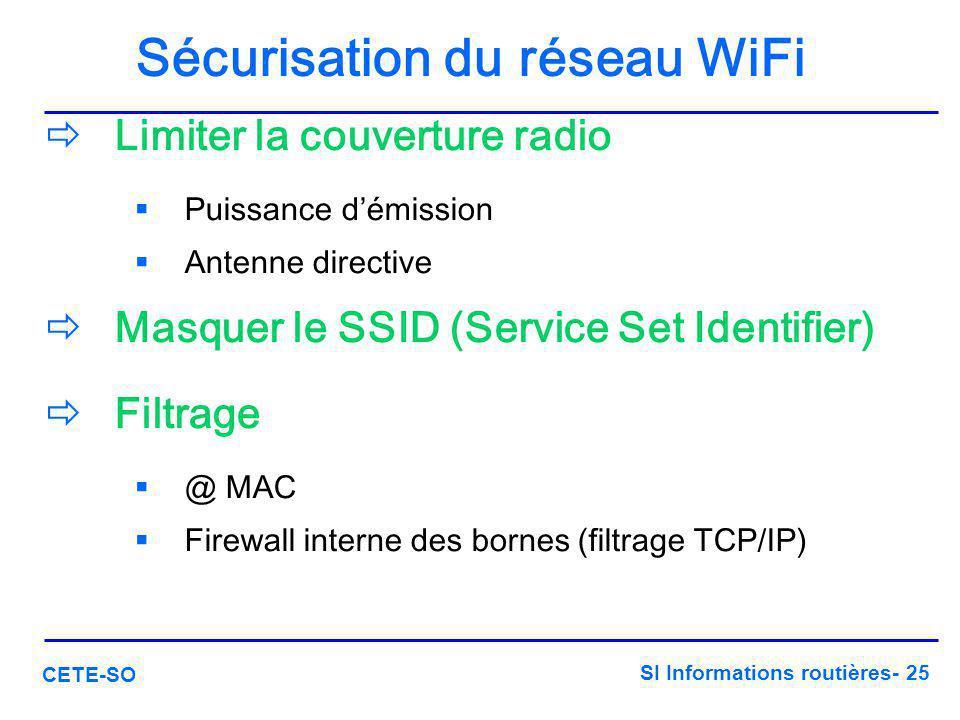 SI Informations routières- 25 CETE-SO Sécurisation du réseau WiFi  Limiter la couverture radio  Puissance d'émission  Antenne directive  Masquer l