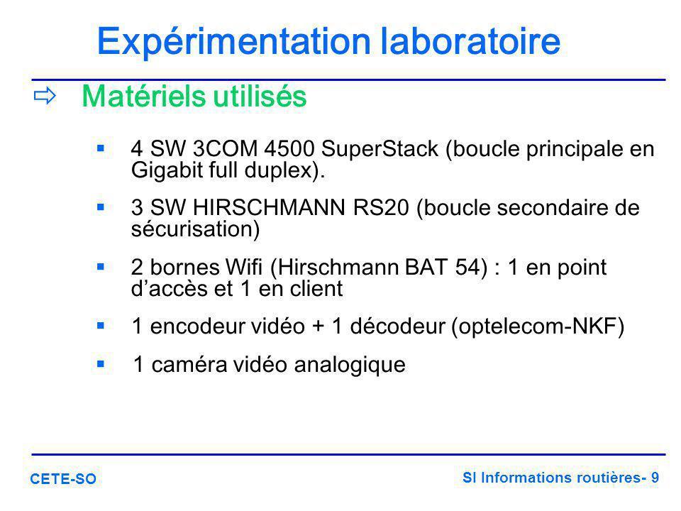 SI Informations routières- 9 CETE-SO Expérimentation laboratoire  Matériels utilisés  4 SW 3COM 4500 SuperStack (boucle principale en Gigabit full d