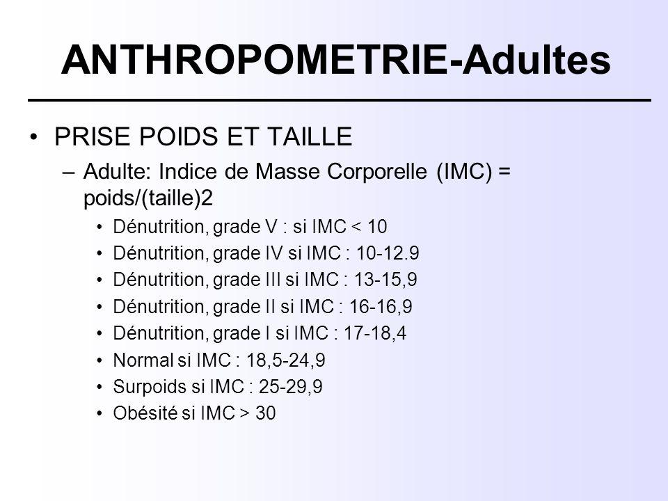 ANTHROPOMETRIE-Adultes PRISE POIDS ET TAILLE –Adulte: Indice de Masse Corporelle (IMC) = poids/(taille)2 Dénutrition, grade V : si IMC < 10 Dénutritio