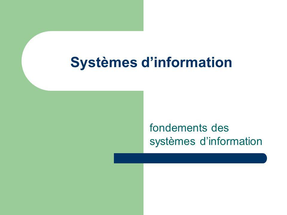 Systèmes d'information fondements des systèmes d'information