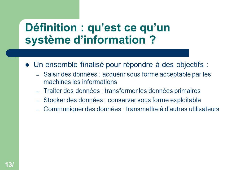 13/ Définition : qu'est ce qu'un système d'information ? Un ensemble finalisé pour répondre à des objectifs : – Saisir des données : acquérir sous for