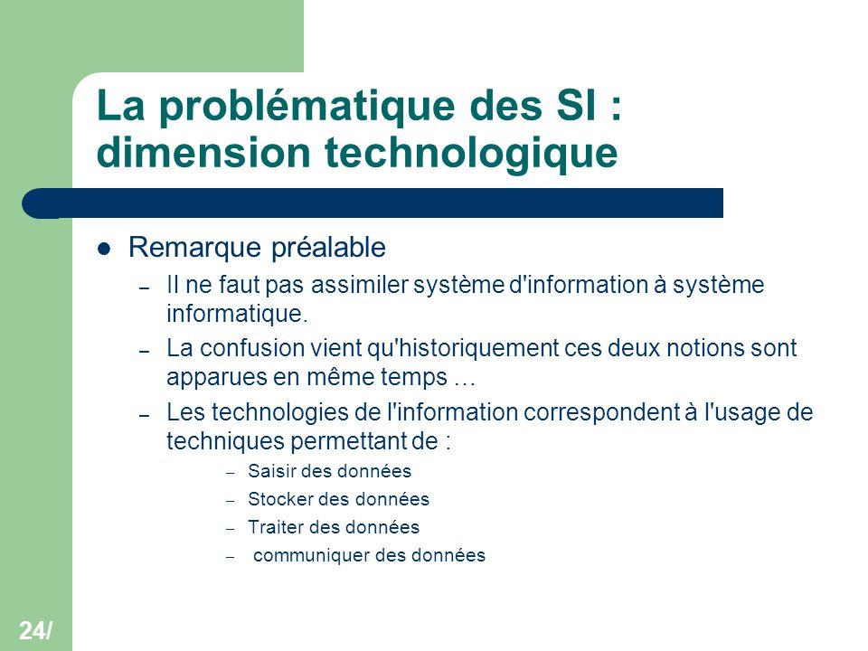 24/ La problématique des SI : dimension technologique Remarque préalable – Il ne faut pas assimiler système d'information à système informatique. – La