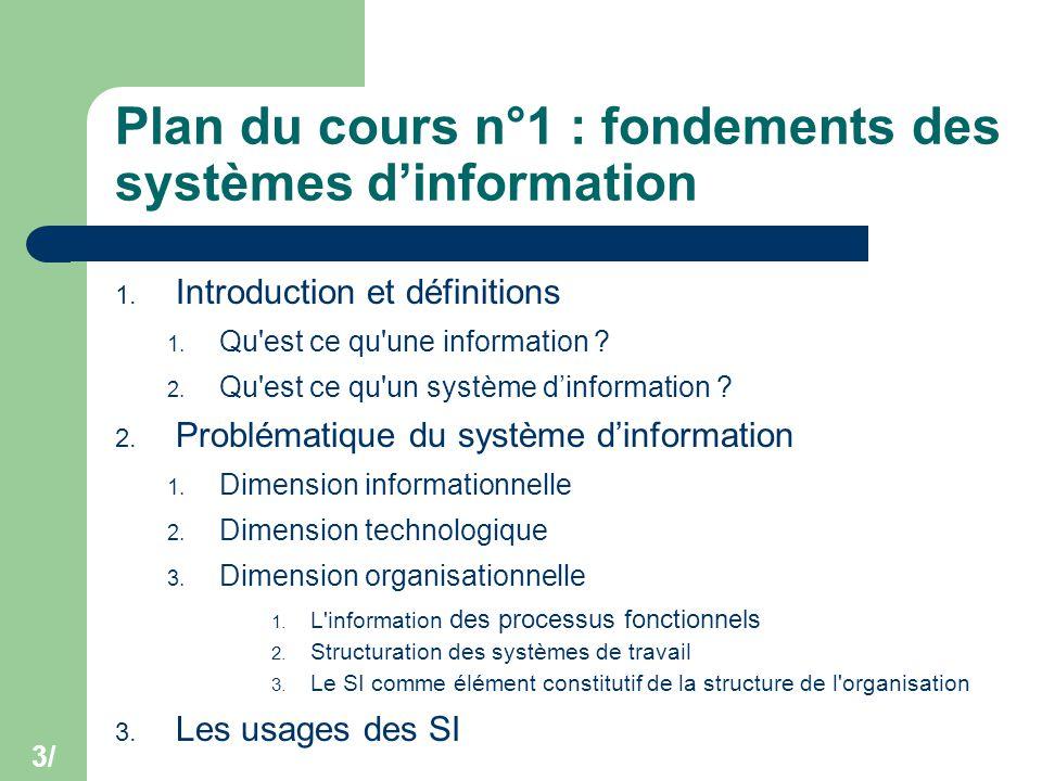 3/ Plan du cours n°1 : fondements des systèmes d'information 1. Introduction et définitions 1. Qu'est ce qu'une information ? 2. Qu'est ce qu'un systè