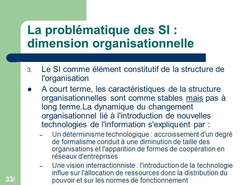 33/ La problématique des SI : dimension organisationnelle 3. Le SI comme élément constitutif de la structure de l'organisation A court terme, les cara
