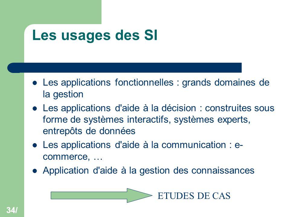 34/ Les usages des SI Les applications fonctionnelles : grands domaines de la gestion Les applications d'aide à la décision : construites sous forme d