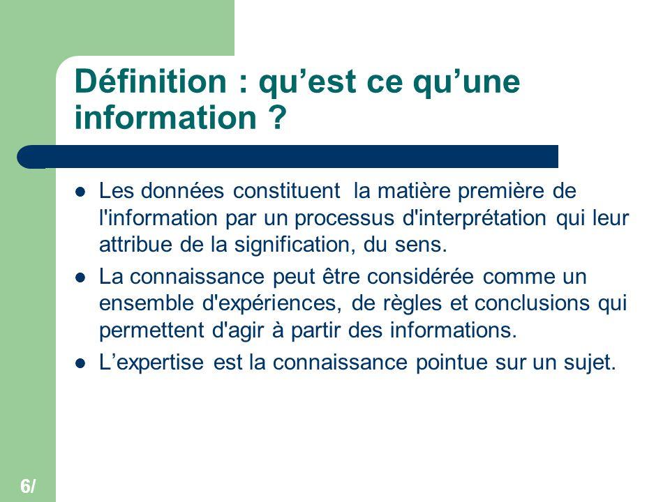 6/ Définition : qu'est ce qu'une information ? Les données constituent la matière première de l'information par un processus d'interprétation qui leur
