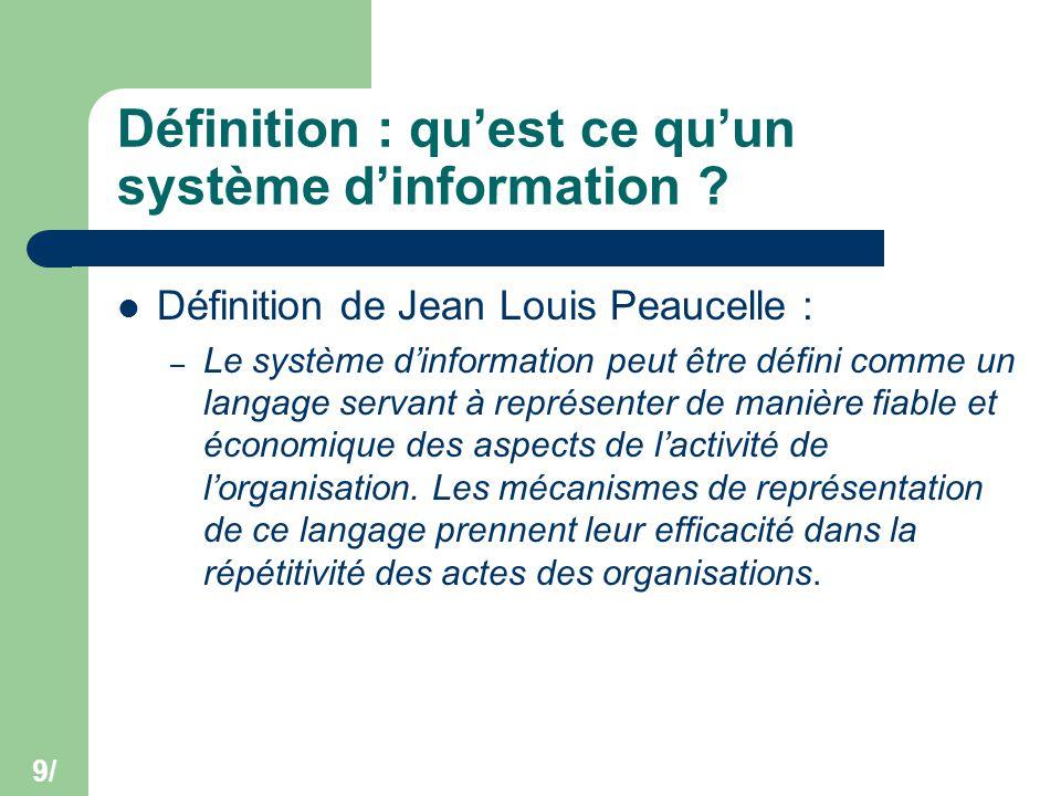 9/ Définition : qu'est ce qu'un système d'information ? Définition de Jean Louis Peaucelle : – Le système d'information peut être défini comme un lang