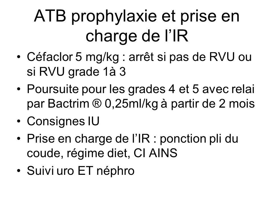 ATB prophylaxie et prise en charge de l'IR Céfaclor 5 mg/kg : arrêt si pas de RVU ou si RVU grade 1à 3 Poursuite pour les grades 4 et 5 avec relai par