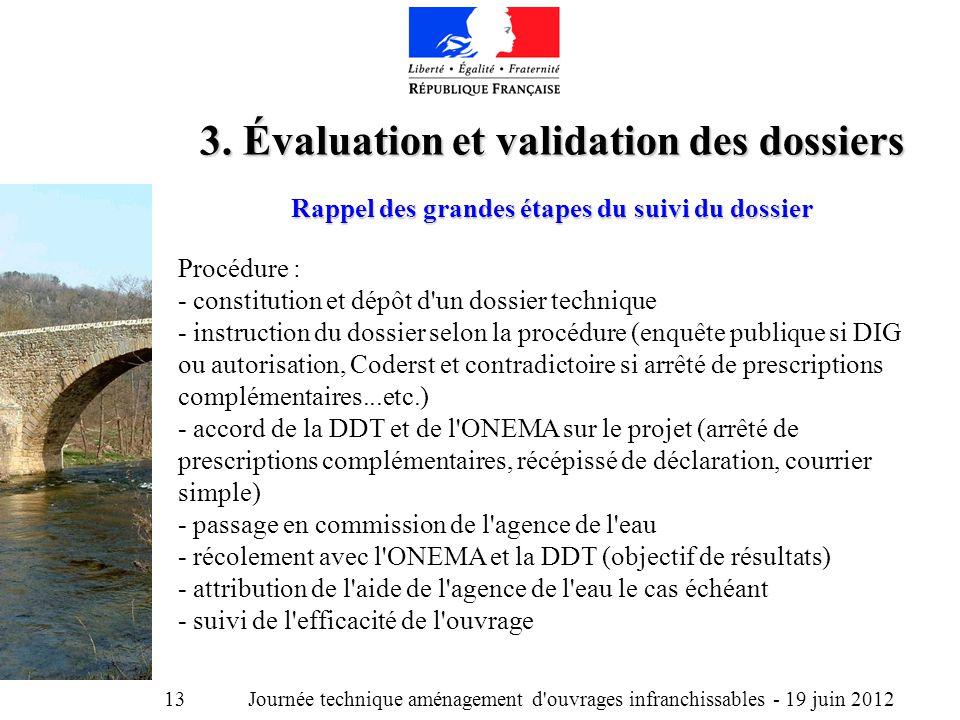 Journée technique aménagement d ouvrages infranchissables - 19 juin 2012 13 3.