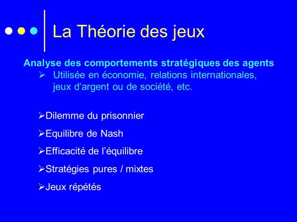 Analyse des comportements stratégiques des agents  Utilisée en économie, relations internationales, jeux d'argent ou de société, etc.  Dilemme du pr